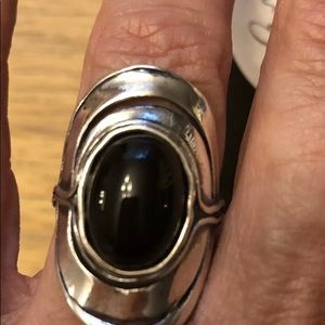 Opulenza,Sterling Silver Black Onyx ring- Size 7